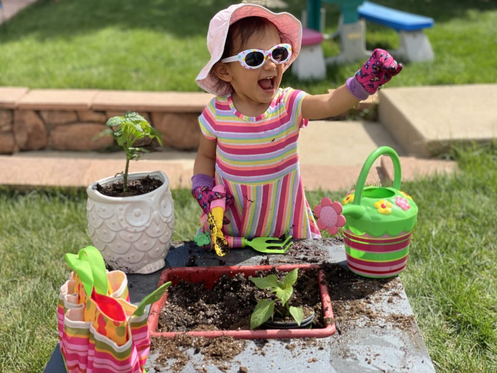 Local lyons 2-year old girl learns to plant vegetables