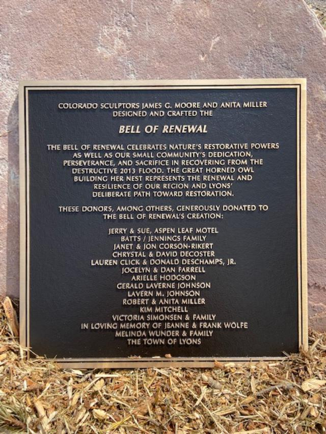 Bell of Renewal donor plaque