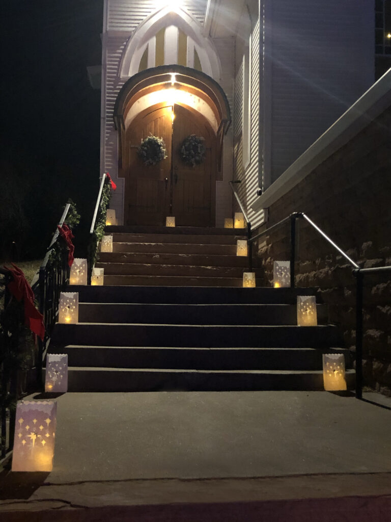 Lyons Community Church stairway and candles 2020