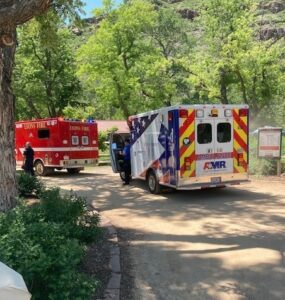rescue vehicles, LJohnson Park - by Boulder Sheriff's office