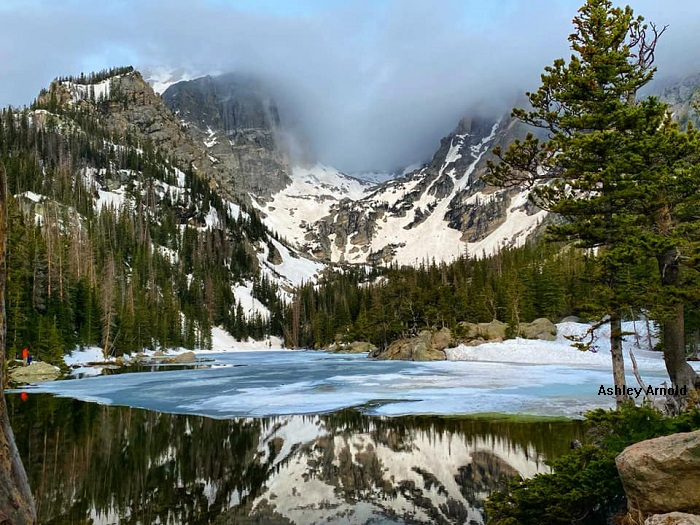 Emerald Lake with some snow on it by Ashley Arnold
