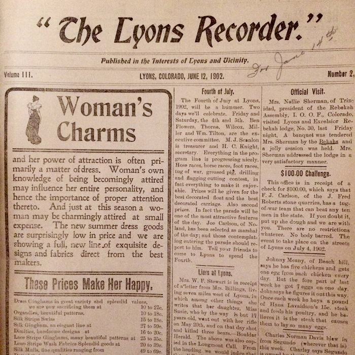 front page of Lyons Recorder 1902 - 4th of July - Lyons museum