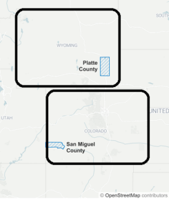 map of 2 counties being discussed in article