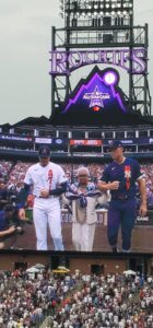 wife of Hank Aaron honored at All Star Game (photo by Charlie Corson)
